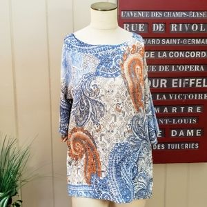 NEW Chico's | 0 /S paisley tunic top textured